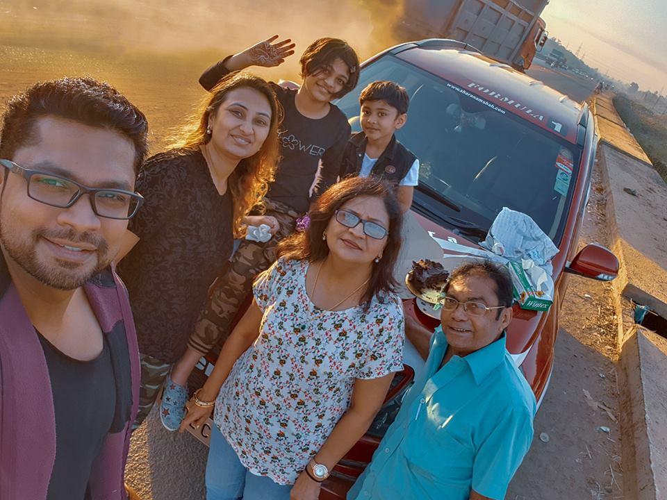 Image may contain: 6 people, including Sharanam Shah, Vaishali Sharanam Shah, Gopi Shah and Chaitanya Shah, people smiling, people standing and outdoor